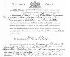 Coroner William Ritchie's deposition - Click to enlarge